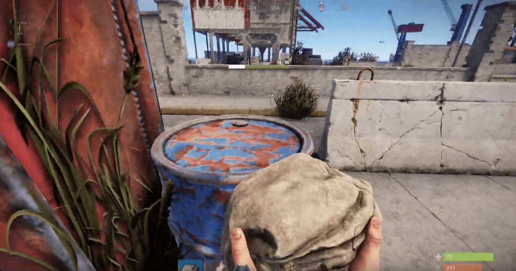 mining barrel in rust